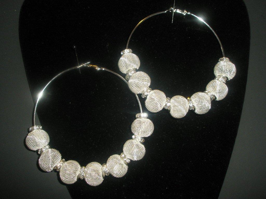 Silver Mesh Hoop Earrings - LARGE Basketball Wives Inspired