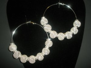 Silver Mesh Hoop Earrings - LARGE Basketball Wives Inspired
