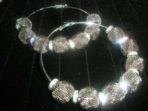 Pewter Mesh Hoop Earrings - LARGE Basketball Wives Inspired