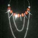 Wooden Spiked Chain Hoop Earrings-Basketball Wives Inspired