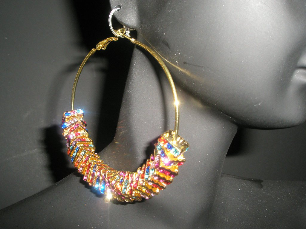 NEW ITEM! BASKETBALL WIVES Multi-Colored SQUARE Charm Hoop Fashion Earrings-SMALL