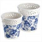Blue Floral Planter Duo