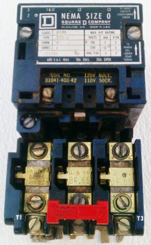 Square D 8536SBO2 Motor Starter 120 Volt Coil Size 0