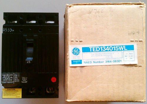 GE TED134015WL Circuit Breaker 15 Amp 480 Volt 3 Pole