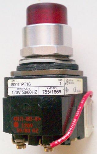 Allen Bradley 800T-PT16 Pilot Light Red 120 Volt 4,13