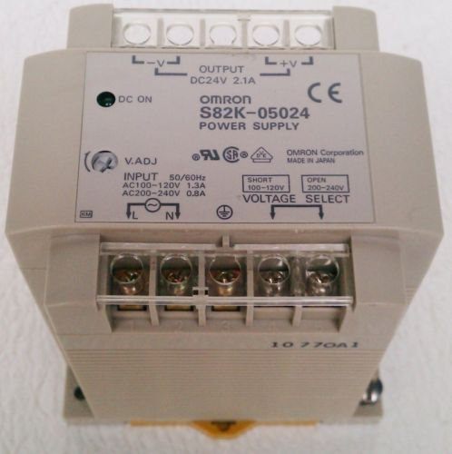 Omron S82K-05024 24 VDC 2.1 A Output Power Supply 100 - 240 VAC 1.3 A /.8 Input