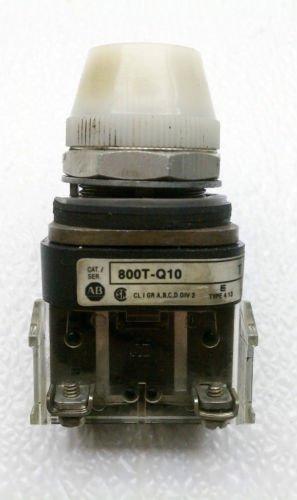 Allen Bradley 800T-Q10 Series T White Pilot Light 120 Volt AC/DC NEMA 4, 13