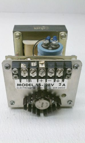 Electrostatics Inc Model 55 Power Supply 28 V 2/5 Amp 5 VDC