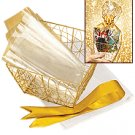 NEW BEAUTIFUL GOLD TONE GIFT BASKET