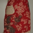 Cute Vintage Style Red Floral Ruffle Apron