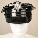 Costume Patten Leather Vinyl Police Hat