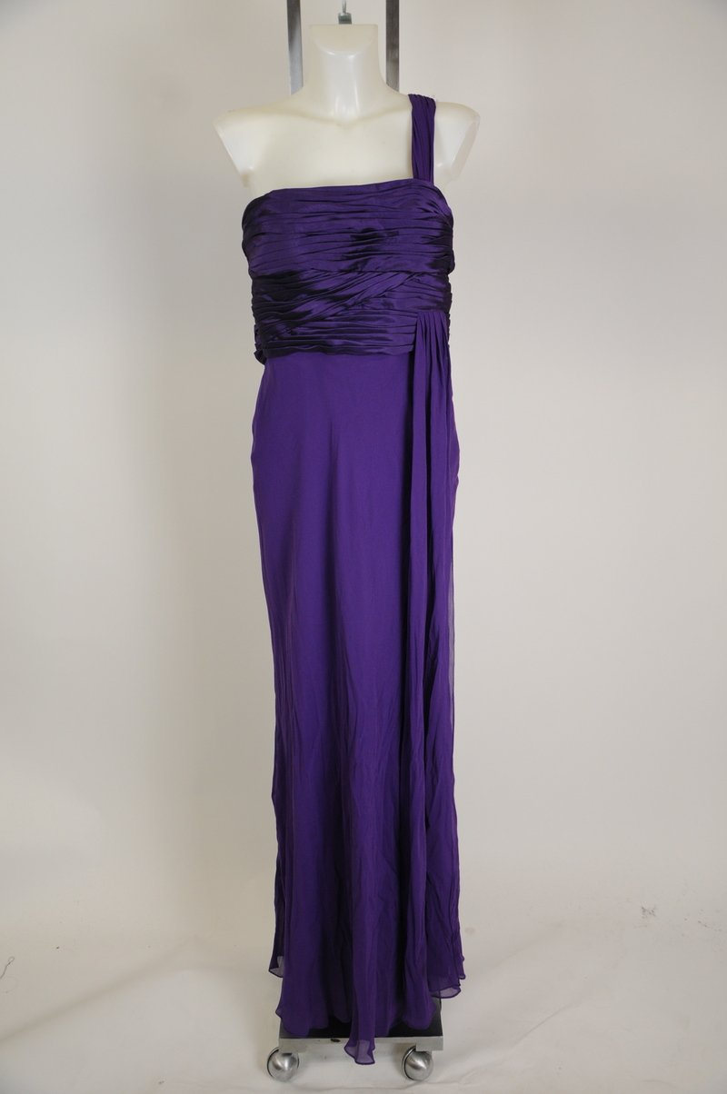 New J S Collection Silk Purple One Shoulder 100% Silk Maxi Long Dress Size 16