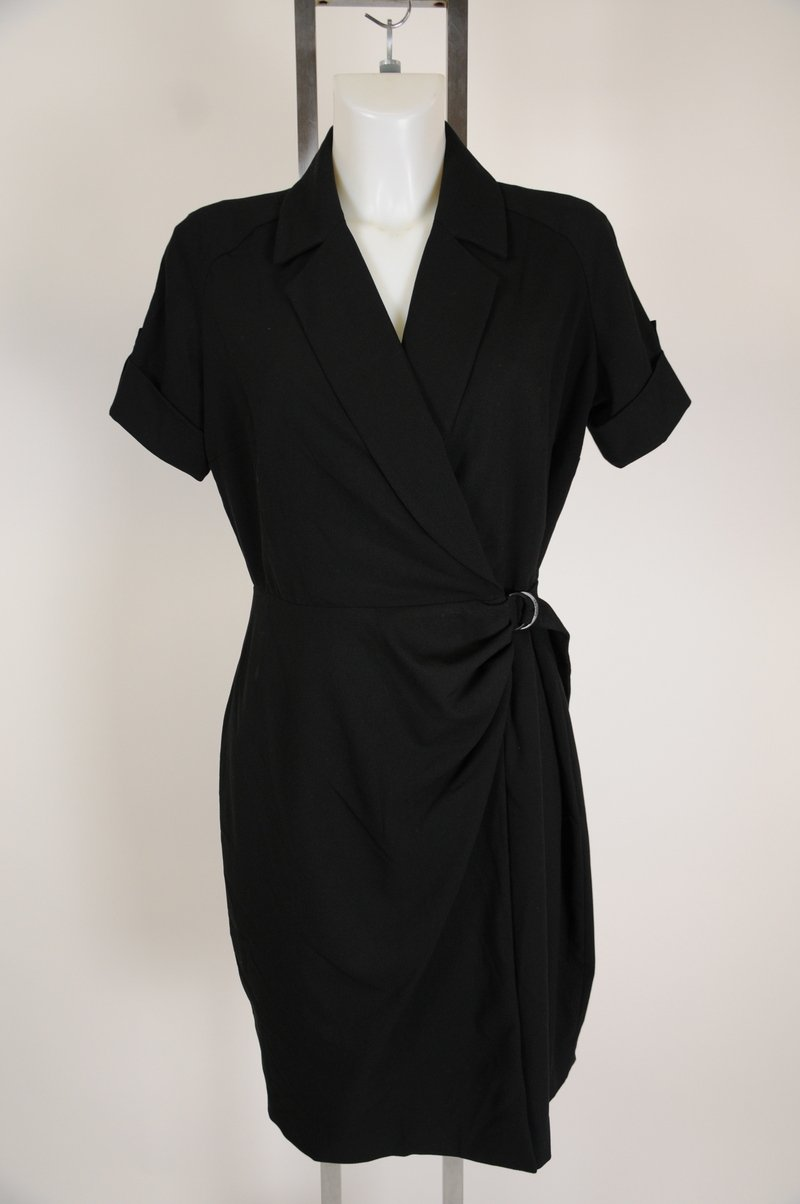 NWOT Clavin Klein Black Wrap Dress Wear To Wrok Casual Size 12