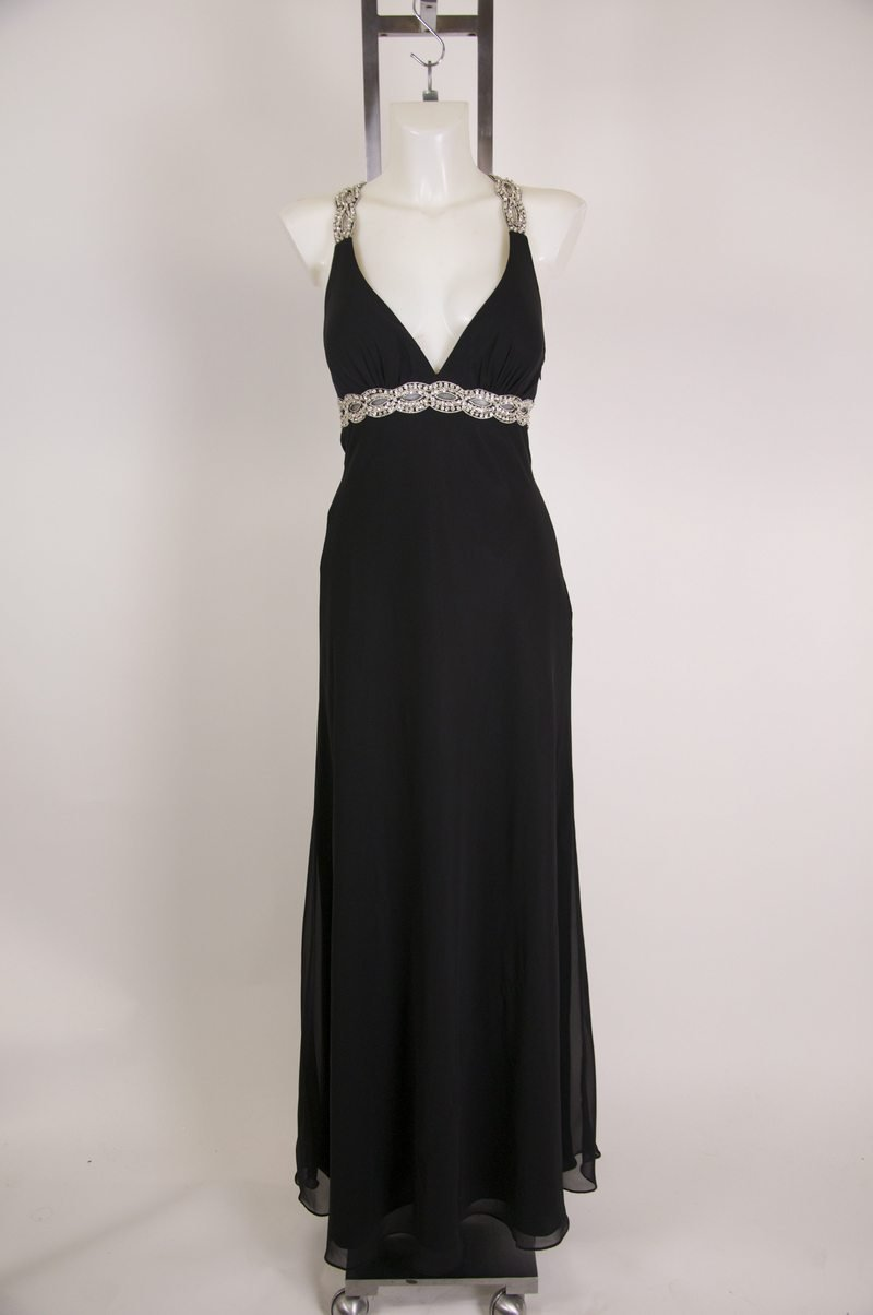New Betsy & Adam Black Maxi Evening Gown Super Sexy Size 10