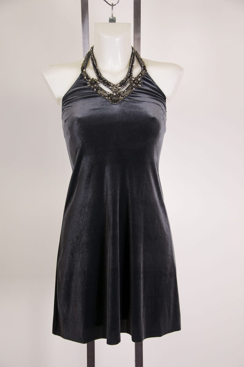 New Baily 44 Super Cute Gray Purple Velvet Halter Dress Size XS