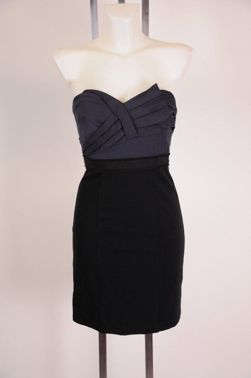 New Super Cute n Sexy Strapless Black Blue BCBG Maxazria Cocktail Dress Size 2