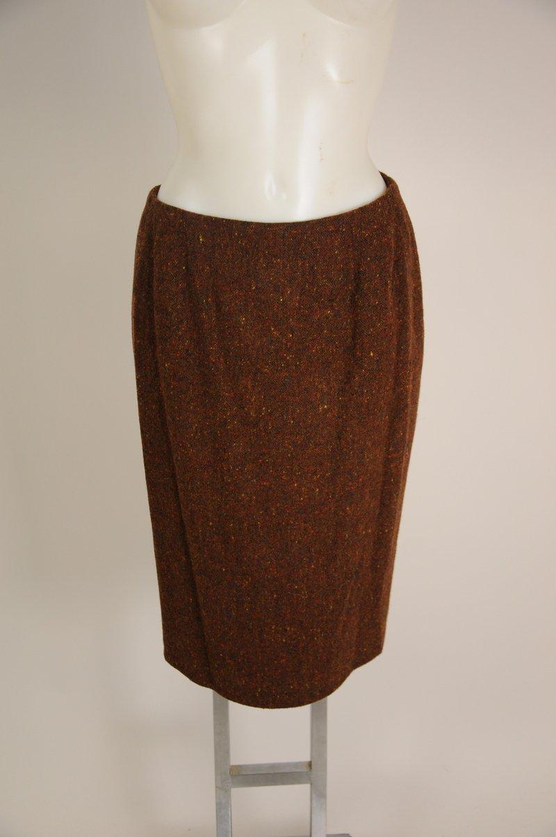 Caroline Charles London Brown Tweed Knee Length Pencil Skirt Waist 29