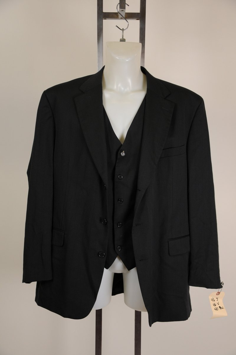 Gian Carlo Lamberti Italy Black Blazer and Vest 100% Wool Chest 54
