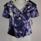 New - Alex Evenings Petite Dress Top - Purple & Silver