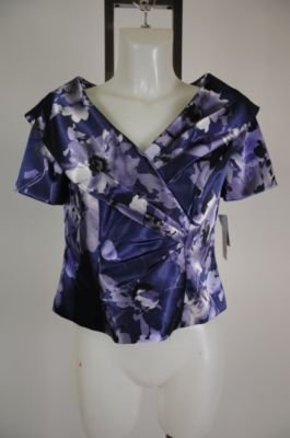 New - Alex Evenings Petite Dress Top - Purple & Silver