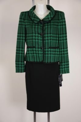 New Evan Picone Suit - NWT - Green Houndstooth Jacket - Black Skirt