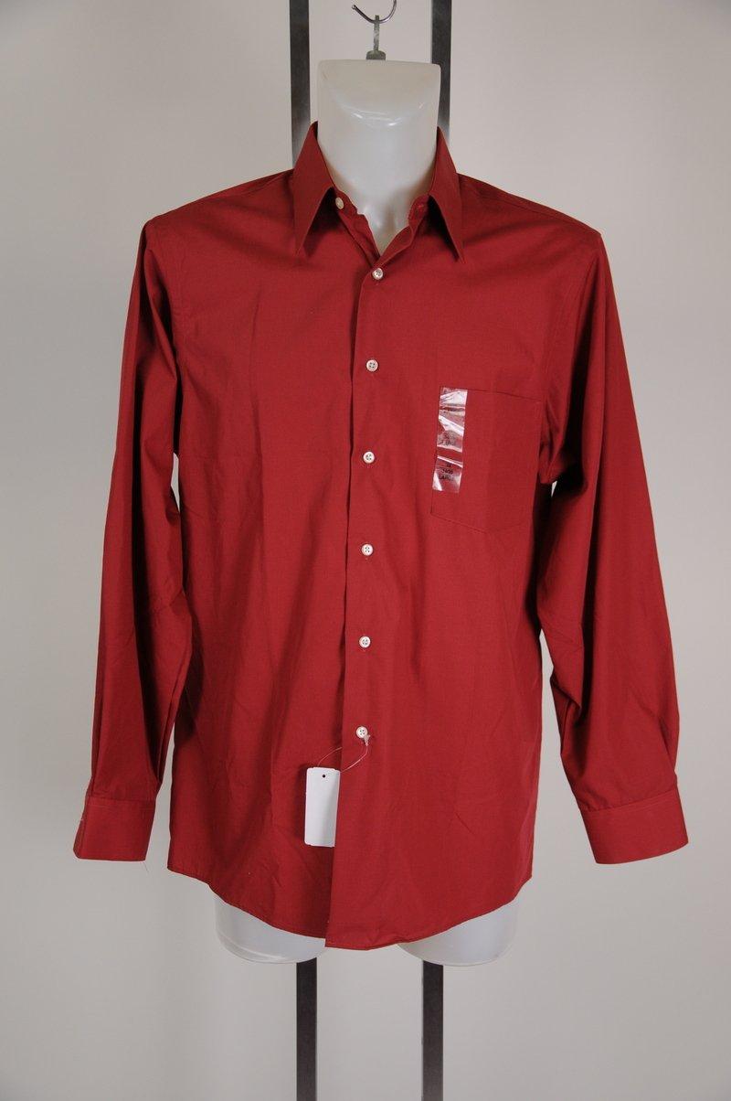 New Van Huesen Poplin Lava Red Dress Shirt Size 16 34-35 Large