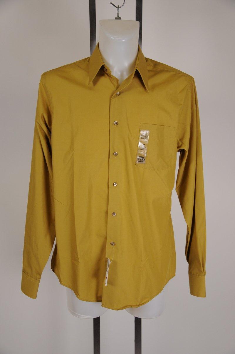 New Van Huesen Fitted Gold Leaf Dress Shirt Size 16 1/2 36-37 Large