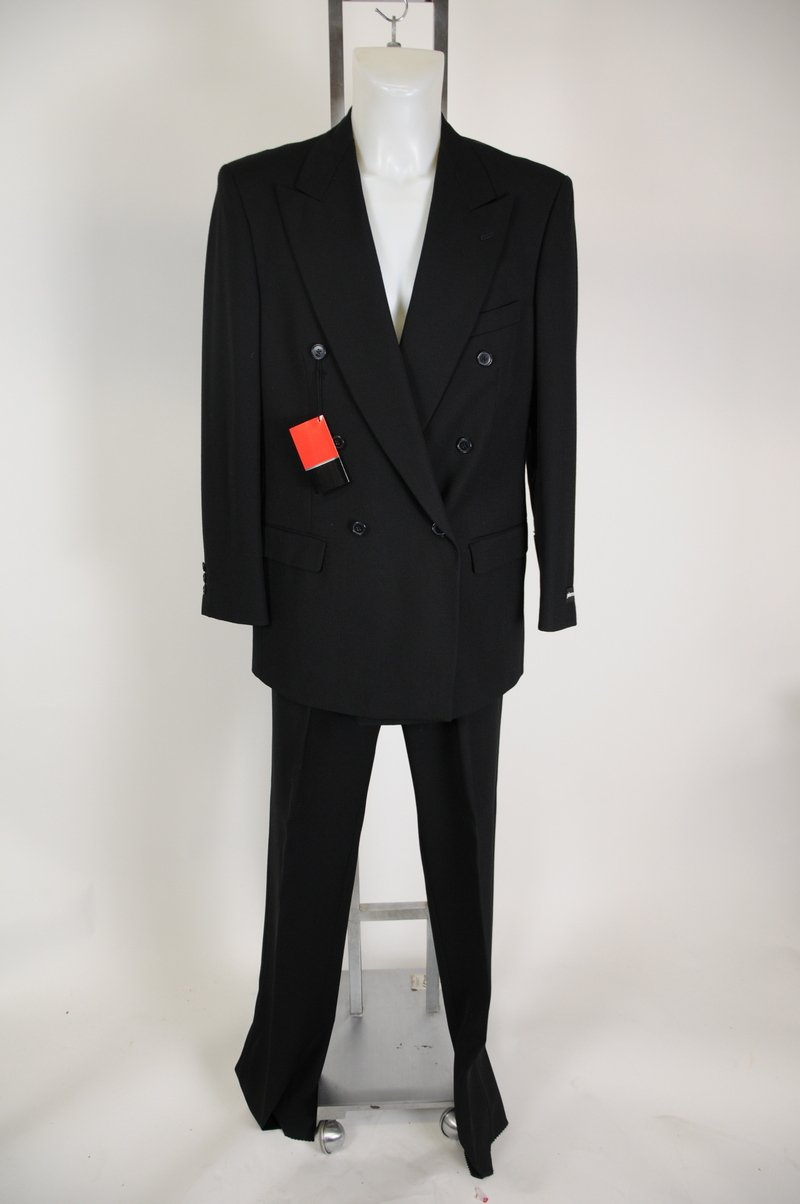 New Mens Pierre Cardin Black Double Breasted Suit Size 50 long Waist 45