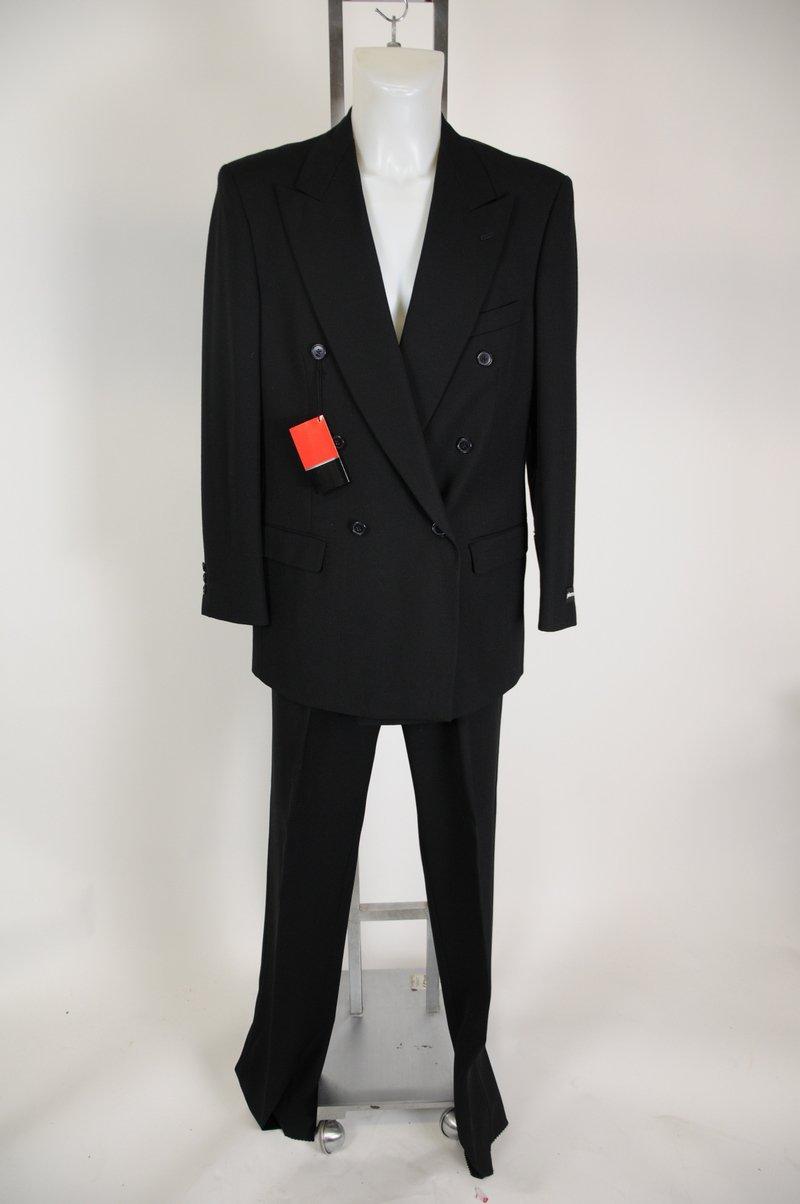 New Pierre Cardin Black Double Breasted 100% Wool Suit Size 41 Long 34 Waist
