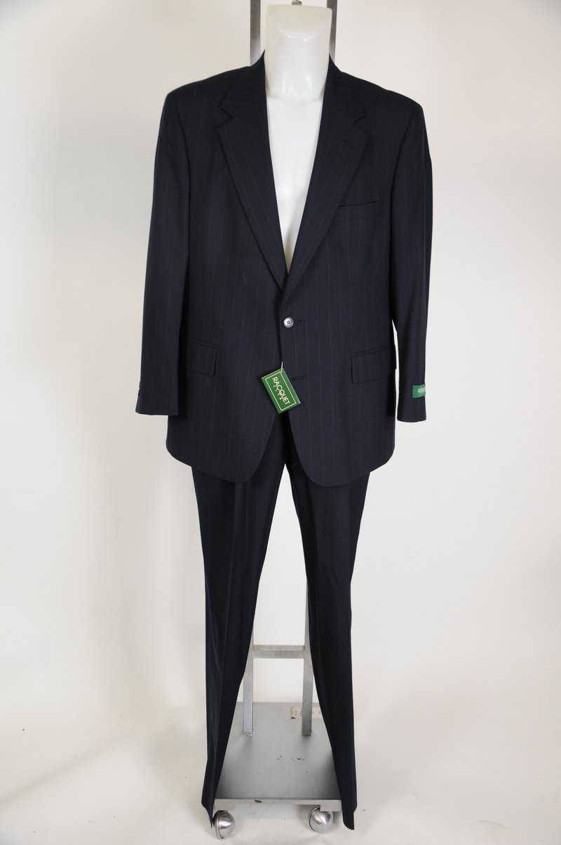 New Mens Racquet Club 100% Wool Navy Pin Stripe Suit Size 42R Waist 36