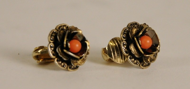 Frida Clip On Rose Earings w/ Orange Center For Salma Hayek COA