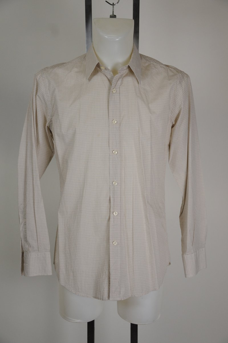 NWOT Barneys New York CO OP Button Down Shirt Size M 100% Cotton Plaid White