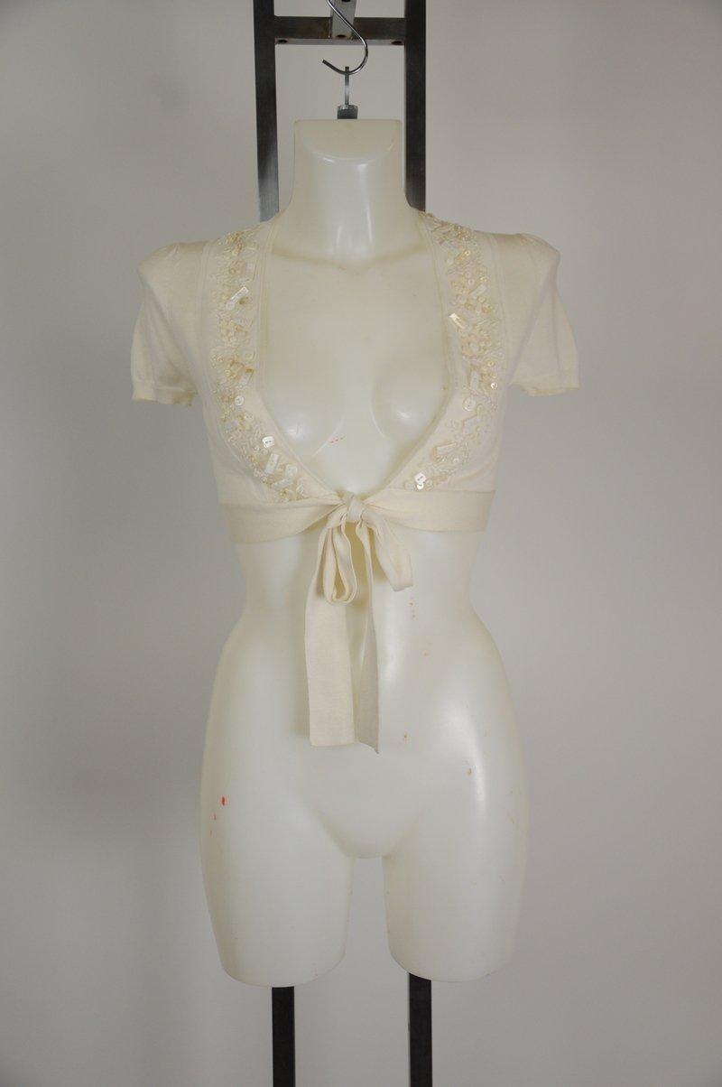 NWOT BCBG Maxazria Off White XS Short Sleeve Wrap Shrug Super Cute