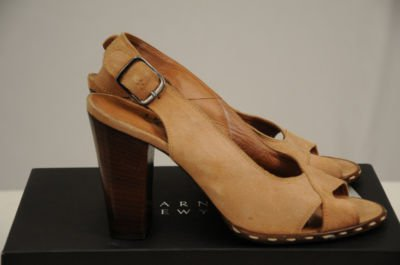 New W/ Box Barneys NY CO OP Leather Sandal Heels Size  37 1/2 Euro