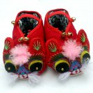 Chinese Pure Manual Embroidery Tiger Padded Boots with thick cotton bottom