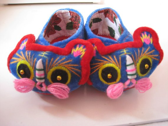 Folk Craft Handmade Tiger Head Baby and Infant Blue Soft Sole Shoes Dance Shoes