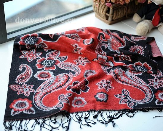 100% wool cashmere twin flower black scarf