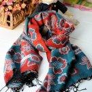 100% wool cashmere twin flower Chinese cymbidium scarf