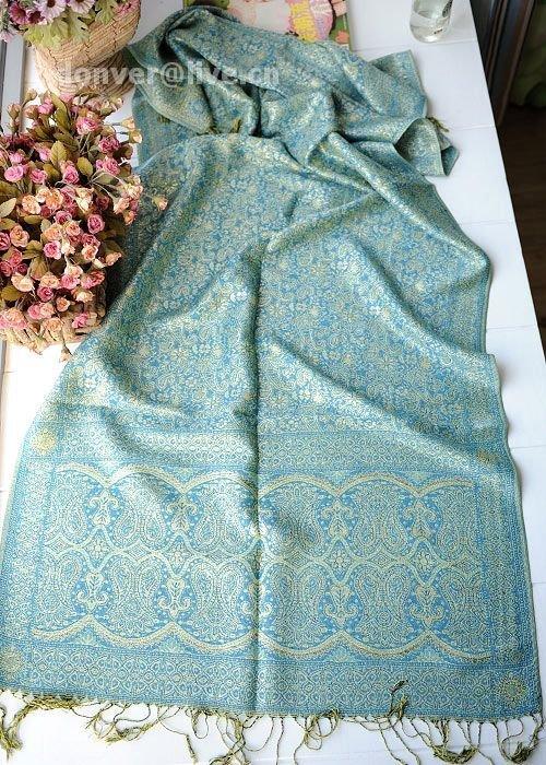 Sunflower rhyme silk blue cotton scarf