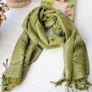 Pashmina sunflower rhyme silk green scarf
