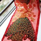 Embroider bead peacock red scarf