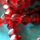 Vintage Ruby Red Pressed Glass beads