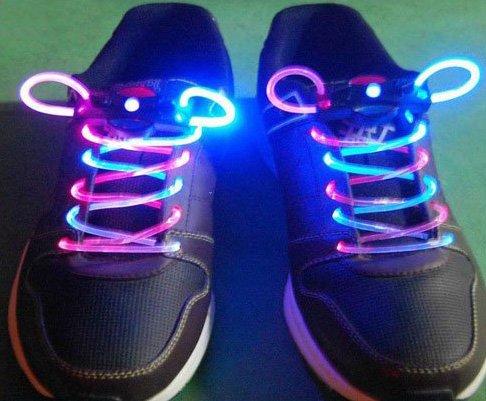 Pink + Blue LED Light Up Shoes shoelaces Luminous shoestring Flash Glow Stick  5sets/lot