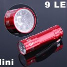 9 LED Flashlight Aluminium LED Torch  LED Flashlight  30pcs/lot