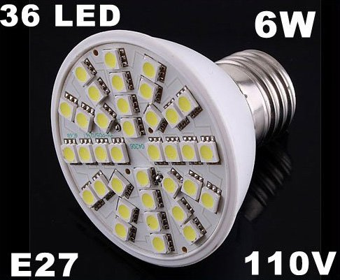 Ultra Bright 110V 6W E27 36 LED Light Bulb Lamp  5pcs/lot  Free Shipping by EMS/DHL