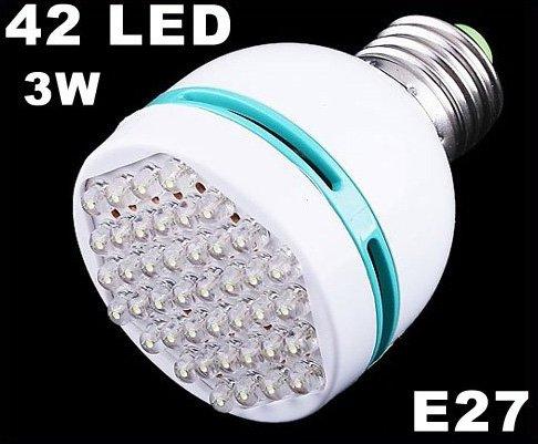 42 LED White Light E27 Screw Head Bulb 3W Energy Saving Lamp  10pcs/lot  Free Shipping