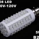 B22 5W 110V 108 Cold White LED Corn Light  10pcs/lot  Free Shipping
