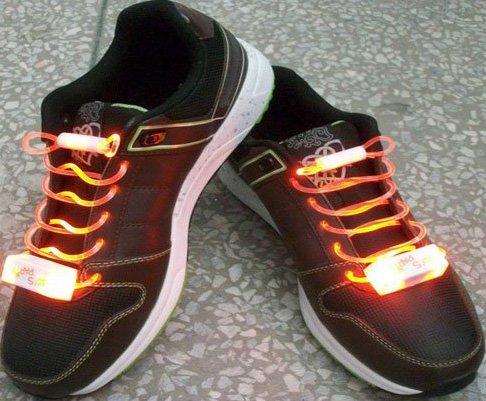 LED Light Up Shoelaces Flash Shoestrings Orange  10sets/lot  Free Shipping