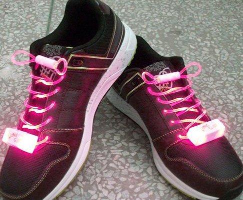 LED Light Up Shoelaces Flash Shoestrings Pink  5sets/lot  Free Shipping