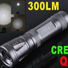 Q5 LED 300 LM Adjustable Focusable Waterproof CREE Flashlight Torch  10pcs/lot  Free Shipping